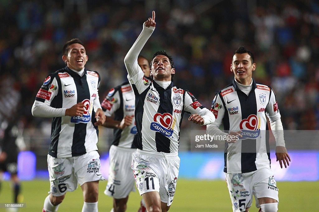 Angel Reyna of Pachuca celebrates score a goal against Cruz Azul during the Clausura 2013 Liga MX at Hidalgo Stadium on February 16, 2013 in Pachuca, Mexico.