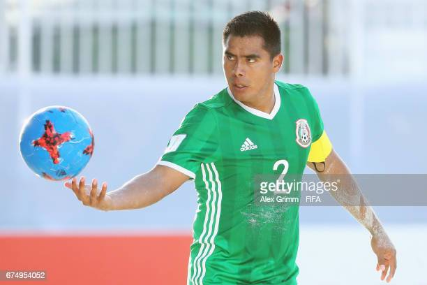 Angel Rodriguez of Mexico holds the ball during the FIFA Beach Soccer World Cup Bahamas 2017 group B match between Mexico and Nigeria at National...