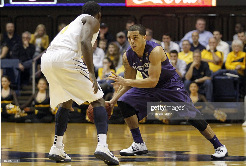 Angel Rodriguez #13 of the Kansas State Wildcats handles the ball against the West Virginia Mountaineers during the game at at the WVU Coliseum on January 12, 2013 in Morgantown, West Virginia.