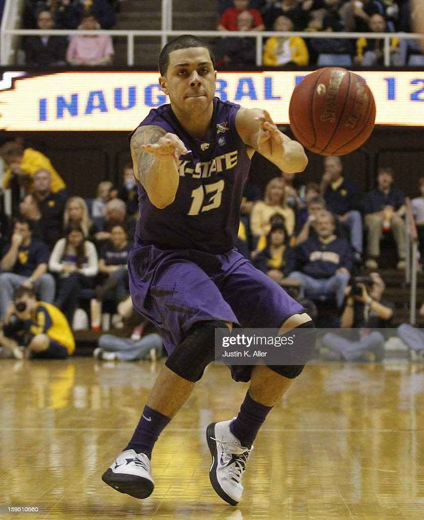 Angel Rodriguez #13 of the Kansas State Wildcats handles the ball against the West Virginia Mountaineers at the WVU Coliseum on January 12, 2013 in Morgantown, West Virginia.