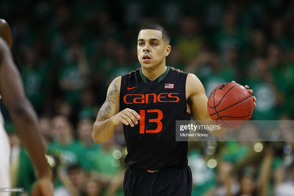 Angel Rodriguez #13 of the Miami (Fl) Hurricanes brings the ball up court during the game against the Notre Dame Fighting Irish at Purcell Pavilion on January 17, 2015 in South Bend, Indiana.