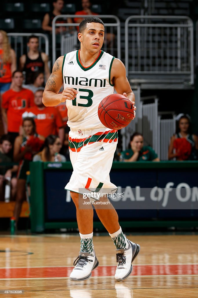 Angel Rodriguez of the Miami Hurricanes brings the ball up court against the LouisianaLafayette Ragin' Cajuns on November 16 2015 at the BankUnited...