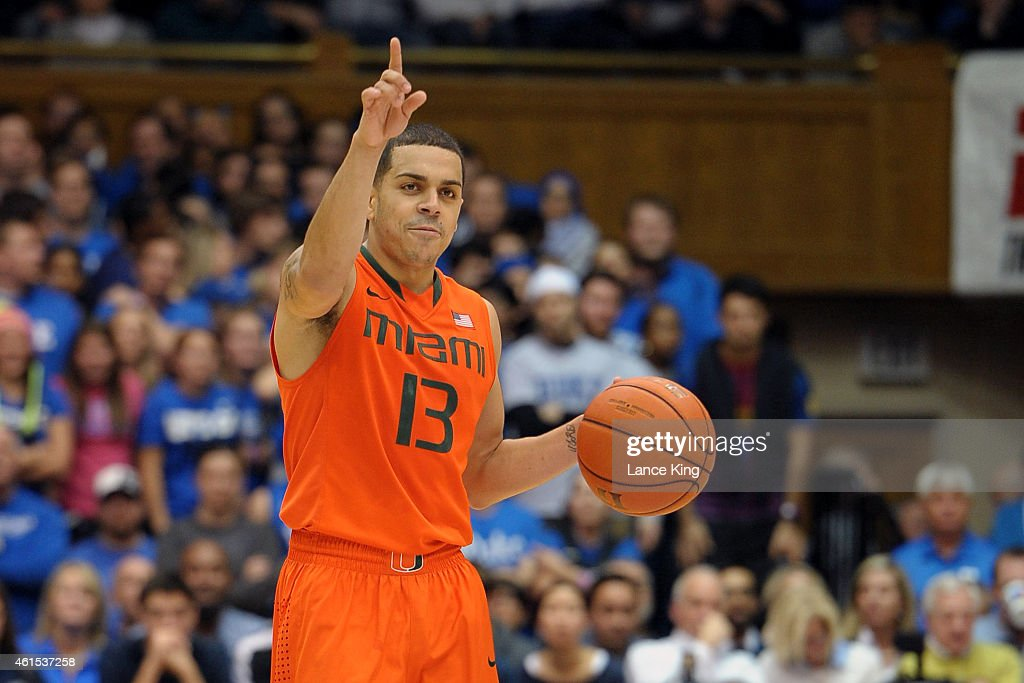 Angel Rodriguez of the Miami Hurricanes calls a play during their game against the Duke Blue Devils at Cameron Indoor Stadium on January 13 2015 in...