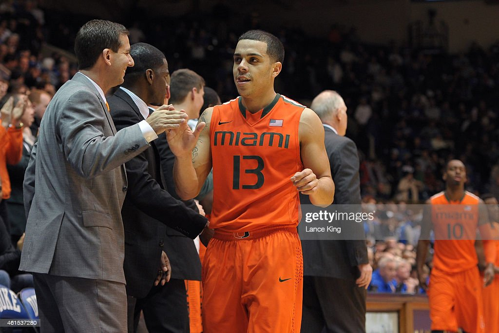 Angel Rodriguez of the Miami Hurricanes celebrates against the Duke Blue Devils during their game at Cameron Indoor Stadium on January 13 2015 in...