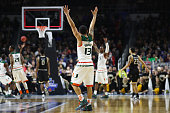 Angel Rodriguez of the Miami Hurricanes celebrates defeating the Wichita State Shockers 6557 during the second round of the 2016 NCAA Men's...