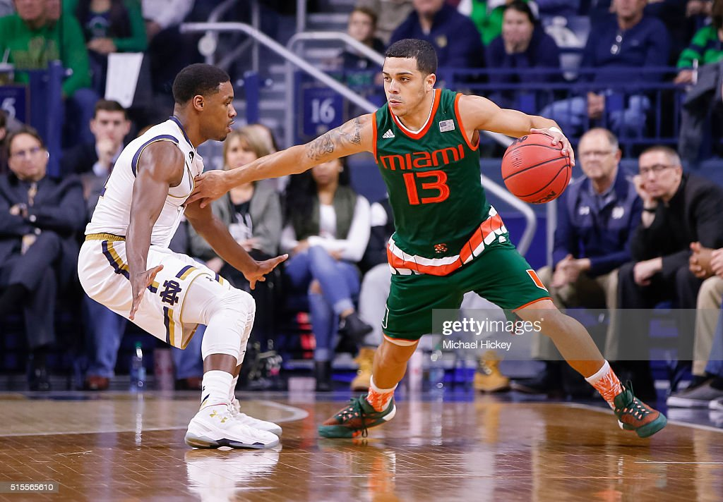 Angel Rodriguez of the Miami Hurricanes dribbles the ball against the Notre Dame Fighting Irish at Purcell Pavilion on March 2 2016 in South Bend...