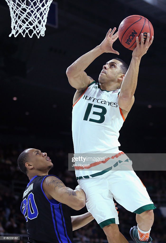 Angel Rodriguez of the Miami Hurricanes drives to the basket in the first half against the Buffalo Bulls during the first round of the 2016 NCAA...