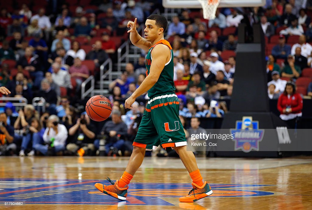 Angel Rodriguez of the Miami Hurricanes gestures during the game against the Villanova Wildcats in the 2016 NCAA Men's Basketball Tournament South...