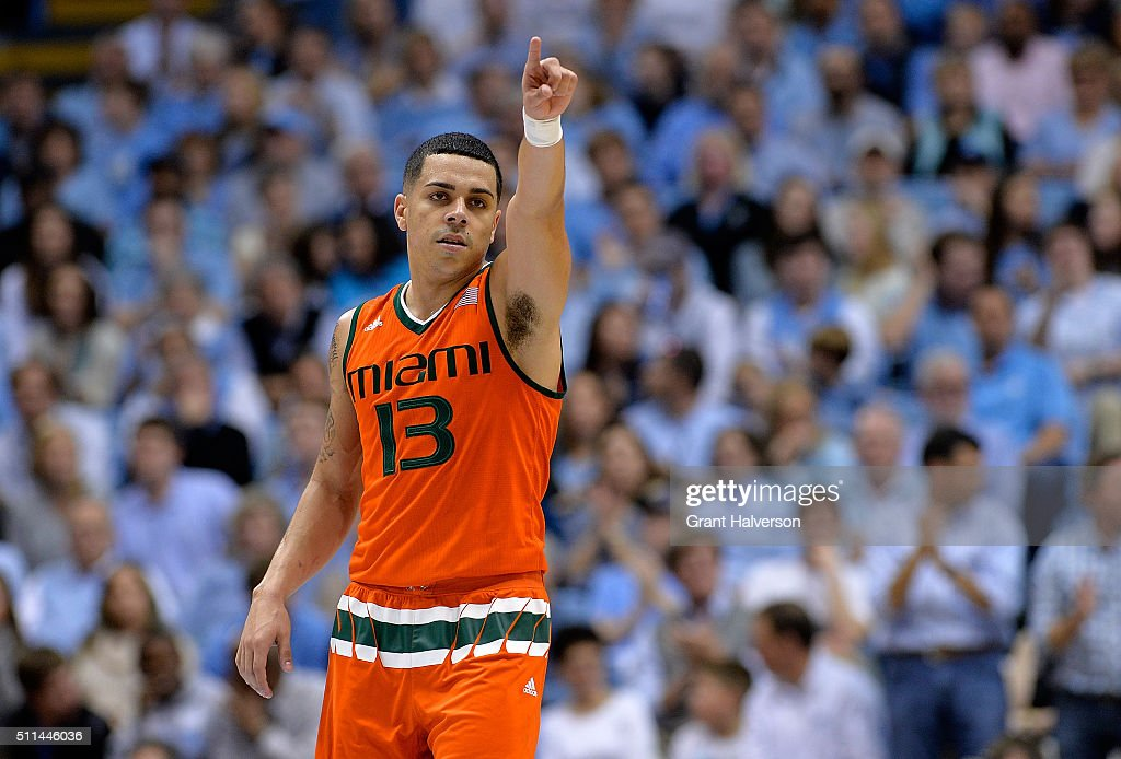 Angel Rodriguez of the Miami Hurricanes gestures during their game against the North Carolina Tar Heels at the Dean Smith Center on February 20 2016...