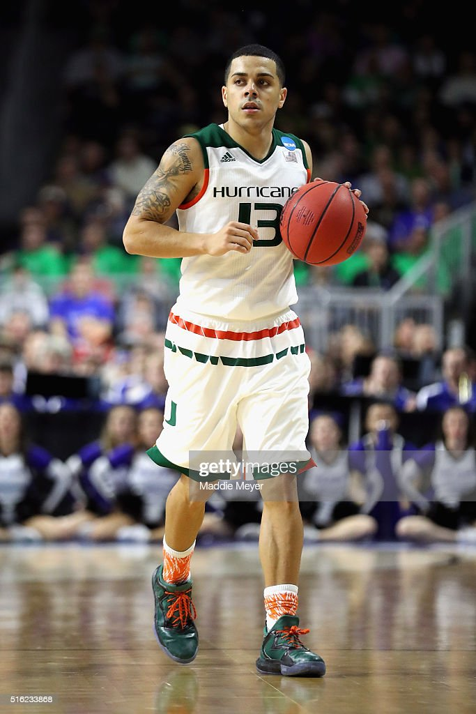 Angel Rodriguez of the Miami Hurricanes handles the ball in the second half against the Buffalo Bulls during the first round of the 2016 NCAA Men's...