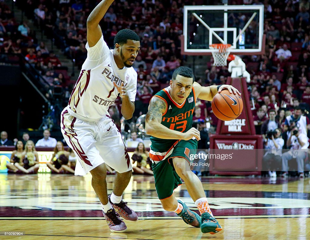 Angel Rodriguez of the Miami Hurricanes in action during the game against the Florida State Seminoles at the Donald L Tucker Center on February 14...