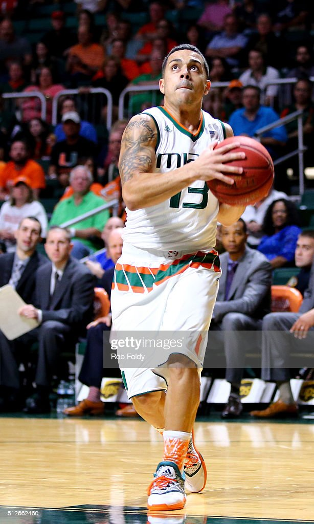 Angel Rodriguez of the Miami Hurricanes in action during the game against the Virginia Cavaliers at the BankUnited Center on February 22 2016 in...