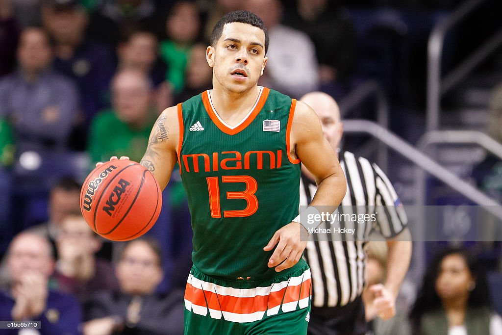 Angel Rodriguez of the Miami Hurricanes is seen during the game against the Notre Dame Fighting Irish at Purcell Pavilion on March 2 2016 in South...
