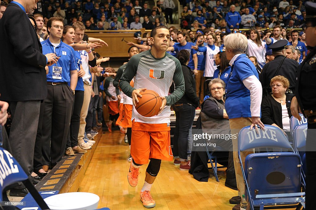 Angel Rodriguez of the Miami Hurricanes runs onto the court prior to a game against the Duke Blue Devils at Cameron Indoor Stadium on January 13 2015...