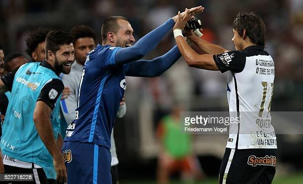 Angel Romero of Corinthians celebrates scoring the second goal during a match between Corinthians and Cobresal as part of Group 8 of Copa Bridgestone...
