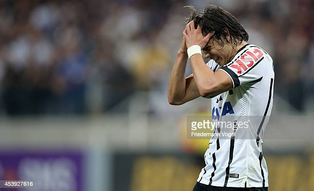 Angel Romero of Corinthians looks on during the match between Corinthians and Goias for the Brazilian Series A 2014 at Arena Corinthians on August 21...