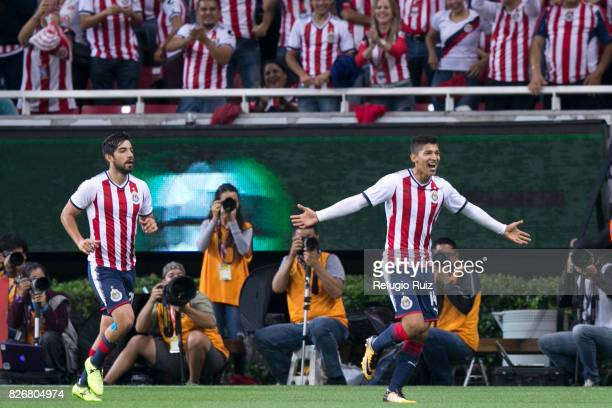 Angel Saldivar of Chivas celebrates after scoring the opening goal during the third round match between Chivas and Necaxa as part of the Torneo...