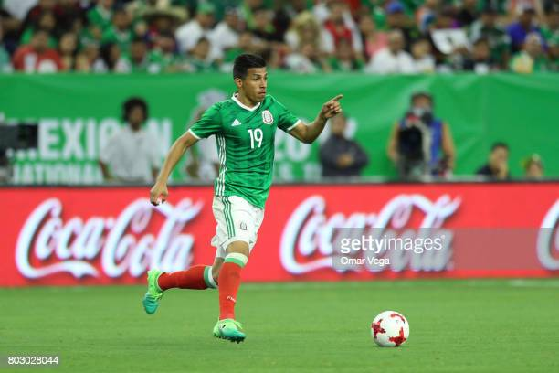Angel Sepulveda of Mexico drives the ball during the friendly match between Mexico and Ghana at NRG Stadium on June 28 2017 in Houston Texas