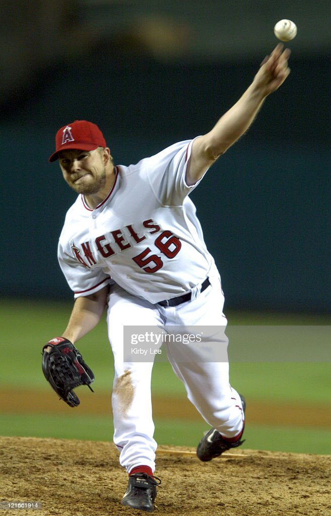 Angel starter Jarrod Washburn pitches against the Detroit Tigers at Angel Stadium on Tuesday May 4 2004