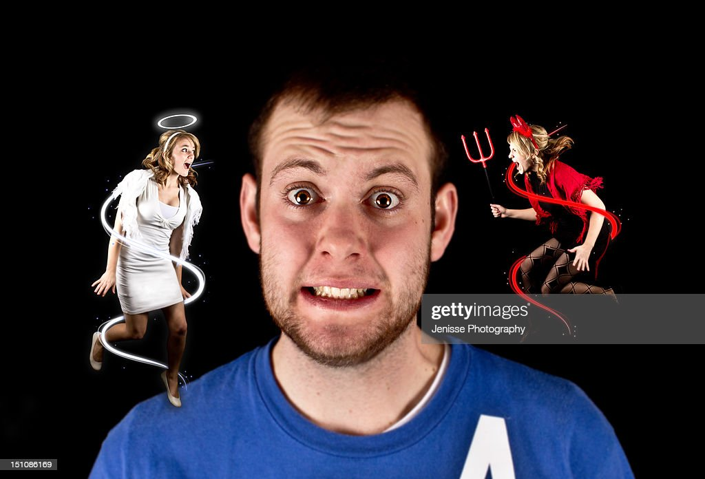 Angel vs devil : Stock Photo