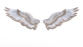 3d Illustration Angel wings, white wing plumage isolated on white background.