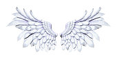 3d Illustration Angel Wings, White Wing Plumage Isolated on White Background