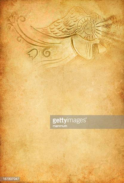 angel with trumpet on old paper