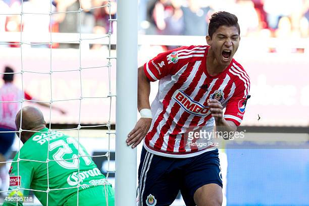 Angel Zaldivar of Chivas celebrates after scoring the first goal of his team during the 15th round match between Chivas and Pachuca as part of the...