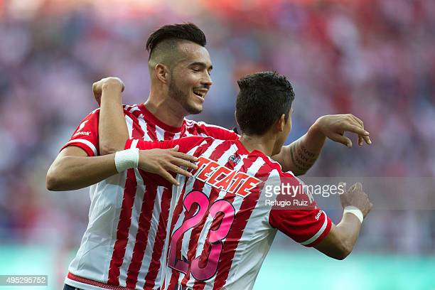 Angel Zaldivar of Chivas celebrates after scoring the third goal of his team during the 15th round match between Chivas and Pachuca as part of the...
