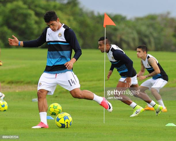 Angel Zaldivar takes a shot during the Pre Season training for the Torneo Apertura 2017 Liga MX at Hotel Moon Palace on June 21 2017 in Cancun Mexico