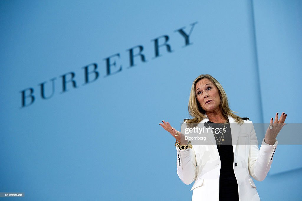 Angela Ahrendts, chief executive officer of Burberry Group Plc, speaks during a keynote speech at the DreamForce 2011 conference in San Francisco, California, U.S., on Wednesday, Aug. 31, 2011. Burberry Group said Christopher Bailey will become chief executive officer of the largest British luxury-goods producer, as CEO Angela Ahrendts departs the company to work at Apple Inc. Photographer: David Paul Morris/Bloomberg via Getty Images