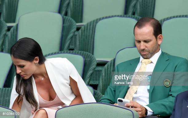 Angela Akins and Sergio Garcia attend day 5 of Wimbledon 2017 on July 7 2017 in London England