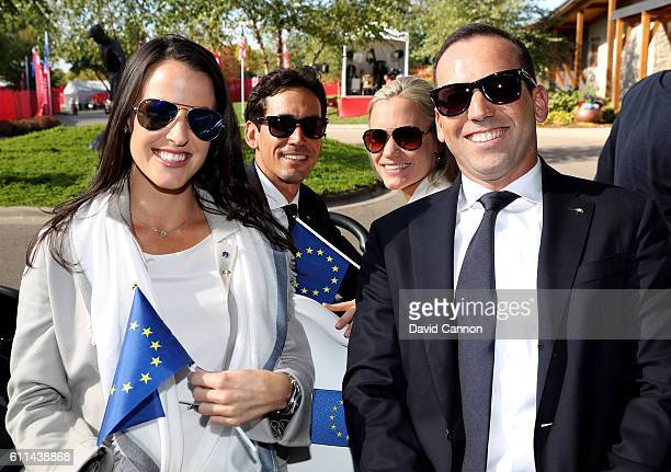 Angela Akins Rafa Cabrera Bello Sofia Lundstedt and Sergio Garcia of Europe attend the 2016 Ryder Cup Opening Ceremony at Hazeltine National Golf...