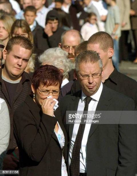 Angela and Phil Read lead the funeral procession for their son Lewis at St George Church Woodsetts near Rotherham South Yorkshire Tuesday September...