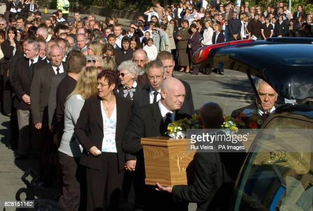 Angela and Phil Read lead the funeral procession for their son Lewis to St George Church Woodsetts near Rotherham South Yorkshire Tuesday September...