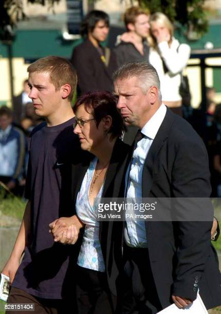Angela and Phil Read with son Lee arrive at St George Church Woodsetts near Rotherham South Yorkshire for the funeral of their other son Lewis...