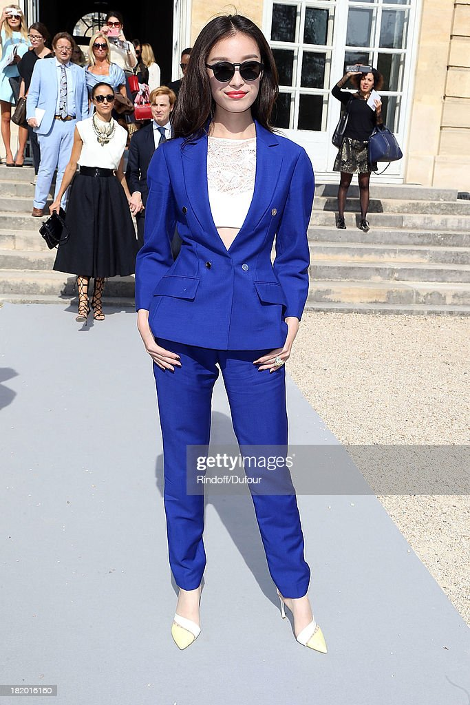Angela Baby arrives Christian Dior show as part of the Paris Fashion Week Womenswear Spring/Summer 2014 on September 27, 2013 in Paris, France.