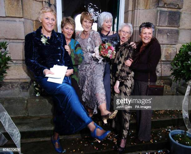 Angela Baker the inspiration behind the famous Calendar Girls film with some of the other girls in the Yorkshire Dales Village of Linton Saturday...