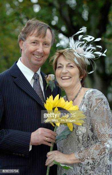 Angela Baker the inspiration behind the famous Calendar Girls film stands with new husband Rev Charles Knowles in the Yorkshire Dales Village of...