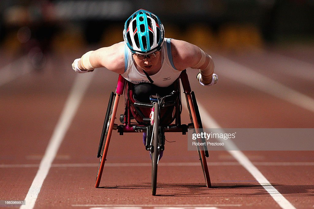 Angela Ballard of NSWIS competes in Women 400m Wheelchair during day two of the Australian Athletics Championships at Sydney Olympic Park Athletic Centre on April 12, 2013 in Sydney, Australia.