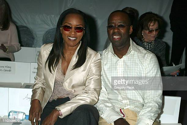 Angela Bassett and Courtney B Vance during Olympus Fashion Week Spring 2005 Pamella Roland Front Row at Bryant Tent Bryant Park in New York City New...