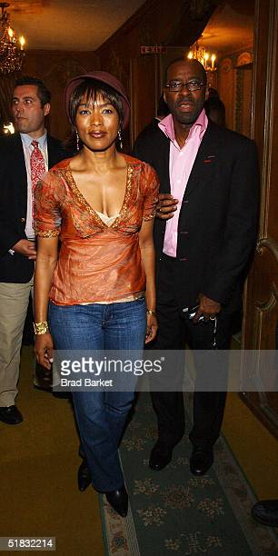 Angela Bassett and husband Courtney B Vance arrives at the opening of 'The Gem of the Ocean' after party at Barbetta on December 6 2004 in New York