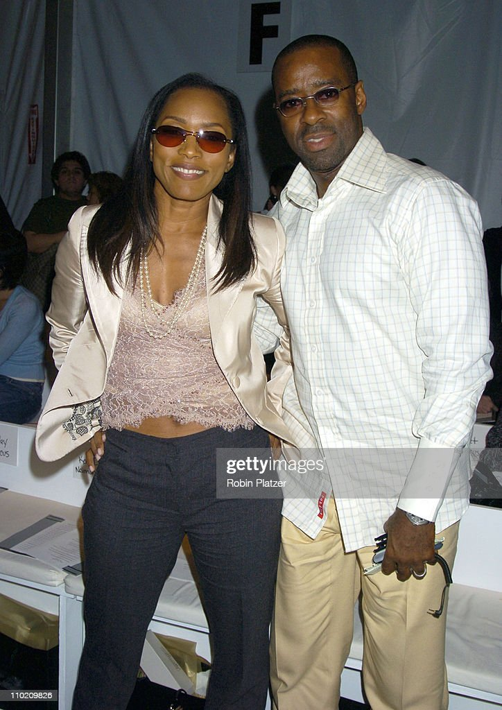 Angela Bassett and husband Courtney Vance during Pamella Roland Spring 2005 Fashion Show at The Tents at Bryant Park in New York New York United...