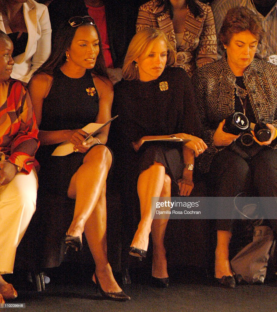 Angela Bassett and Katie Couric during Olympus Fashion Week Spring 2005 Carmen Marc Valvo Front Row and Backstage at Theater Tent Bryant Park in New...