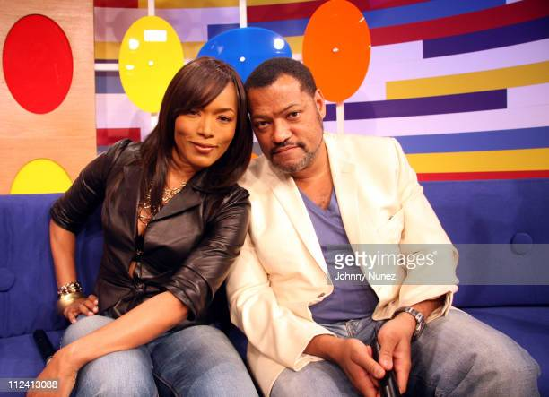 Angela Bassett and Laurence Fishburne during Laurence Fishburne Angela Bassett and KeKe Palmer Visit 106 and Park April 27 2006 at BET Studio's NYC...
