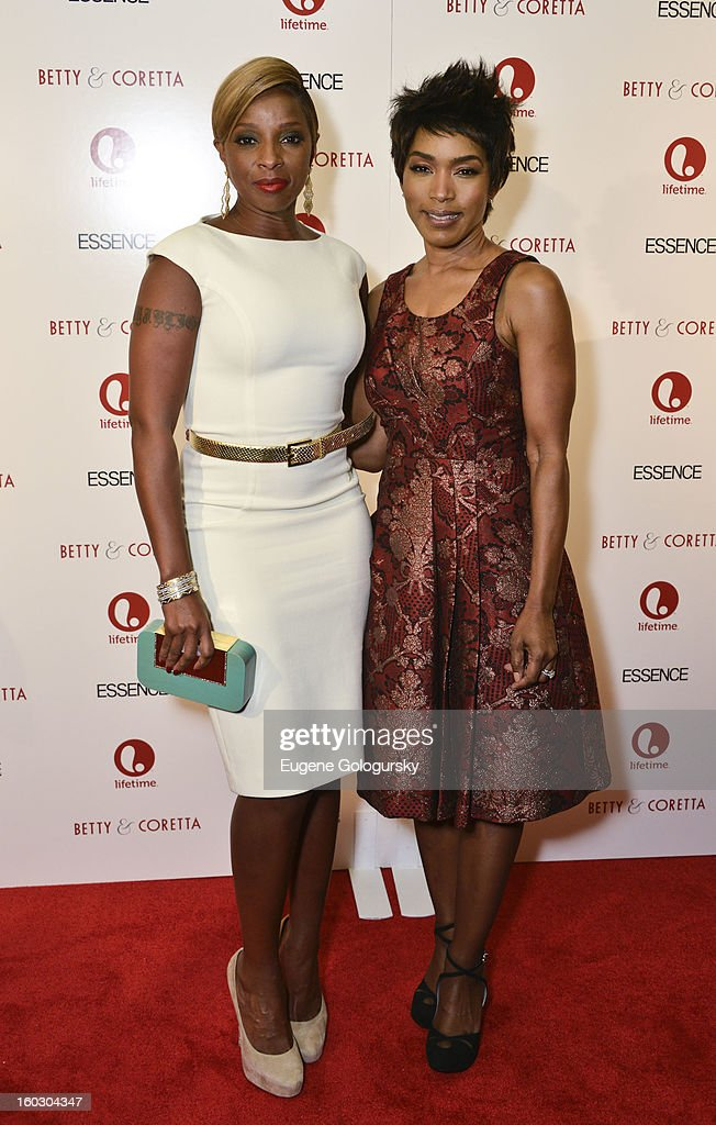 Angela Bassett and Mary J. Blige attend the 'Betty & Coretta' premiere at Tribeca Cinemas on January 28, 2013 in New York City.