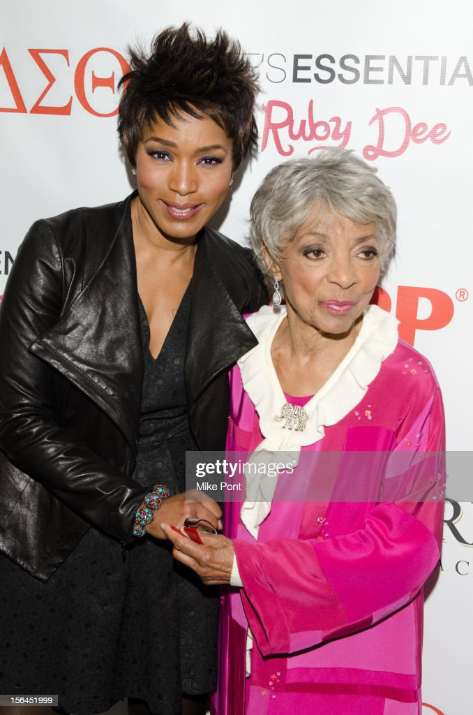 <a gi-track='captionPersonalityLinkClicked' href=/galleries/search?phrase=Angela+Bassett&family=editorial&specificpeople=171174 ng-click='$event.stopPropagation()'>Angela Bassett</a> and <a gi-track='captionPersonalityLinkClicked' href=/galleries/search?phrase=Ruby+Dee&family=editorial&specificpeople=217744 ng-click='$event.stopPropagation()'>Ruby Dee</a> attend the 'Life's Essentials With <a gi-track='captionPersonalityLinkClicked' href=/galleries/search?phrase=Ruby+Dee&family=editorial&specificpeople=217744 ng-click='$event.stopPropagation()'>Ruby Dee</a>' screening at The Schomburg Center for Research in Black Culture on November 14, 2012 in New York City.