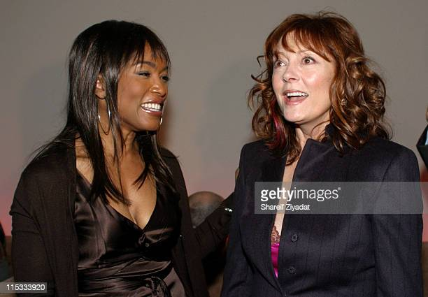 Angela Bassett and Susan Sarandon during Wyclef Jean's Yele Haiti Fundraiser 2004 at Glo in New York City New York United States