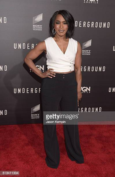 Angela Bassett attends the premiere of WGN America's 'Underground' at The Theatre At The Ace Hotel on March 2 2016 in Los Angeles California