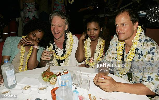 Angela Bassett Bill Maher and Woody Harrelson during 2004 Maui Film Festival VIP Party at Spago at Spago Four Seasons Hotel in Maui Hawaii United...